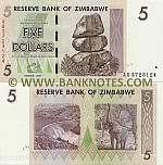 Zimbabwe 5 Dollars 2007 (AB37231xx) UNC