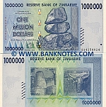 Zimbabwe 1 Million Dollars 2008 UNC