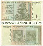 Zimbabwe 20 Billion Dollars 2008 (AA6025439) (lt. circulated) XF