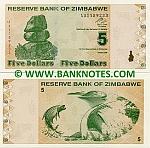 Zimbabwe 5 Dollars 2009 (AA11592xx) UNC