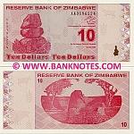 Zimbabwe 10 Dollars 2009 (AA01962xx) UNC