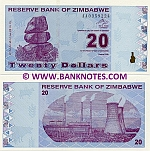 Zimbabwe 20 Dollars 2009 (AA03592xx) UNC