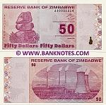 Zimbabwe 50 Dollars 2009 UNC
