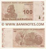 Zimbabwe 100 Dollars 2009 (AA0457xxx) UNC