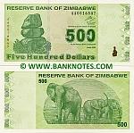 Zimbabwe 500 Dollars 2009 (AA0016848) UNC