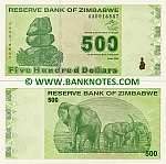 Zimbabwe 500 Dollars 2009 UNC