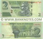 Zimbabwe 2 Dollars 2016 (BE80280xx) UNC